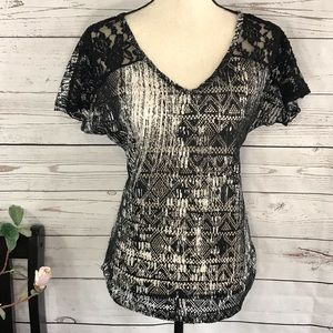 Vanity Abstract Sheer Lace Mesh Ruched V-Neck Top